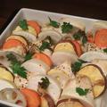 きのうのおつまみ  鶏と根菜のオーブン焼き
