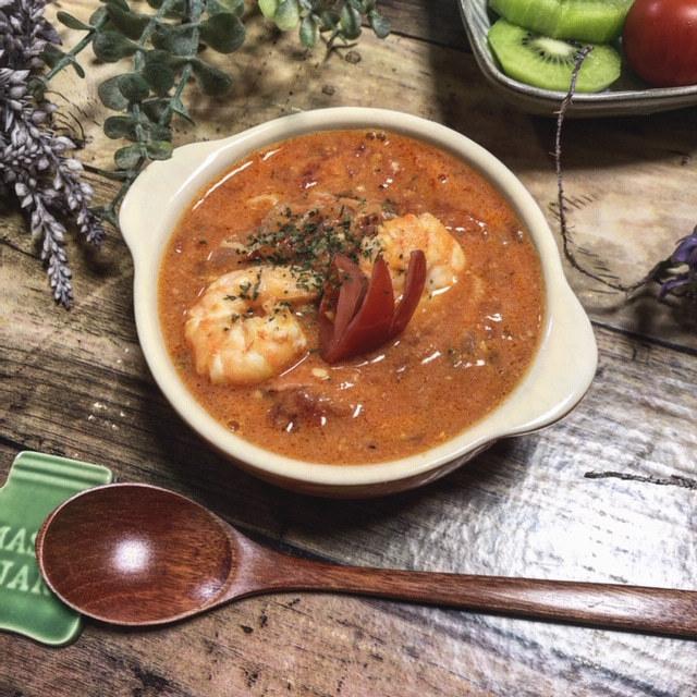 料理教室☆きまぐれランチ♪魚介のトマトクリームスープ