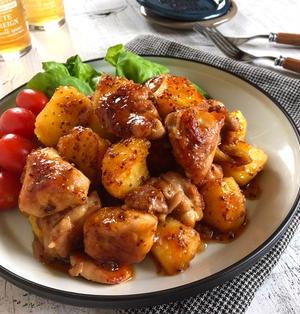 鶏肉とじゃがいものハニーマスタード照り焼き*ご飯が進む味*三人三様。