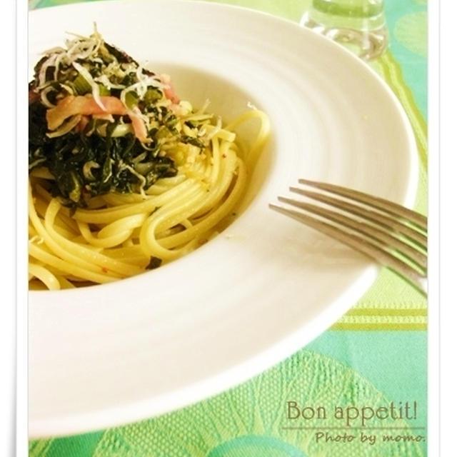 和と伊のコラボ♪野沢菜とベーコン、じゃこの和風ペペロンチーノ(レシピ付き)