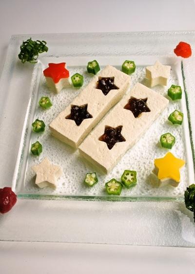 七夕の夜空に輝く~お星様のお豆腐サラダ