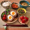 84.【60分】スコッチエッグ、オニオングラタン風スープ、ピーマンそぼろ