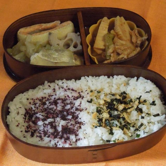 ◇秋鮭とタラの煮びたし、とひさしぶりに青幕さんのお弁当