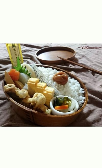 お弁当に〜マヨめんつゆ剥き身でかき揚げ〜パパのお弁当