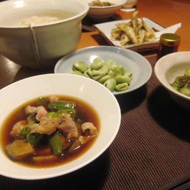 稚鮎の天ぷら&ししとうと茄子のつけうどん