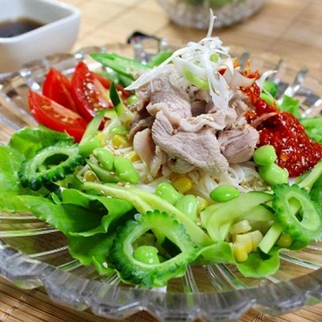夏野菜タップリ冷しゃぶ麺