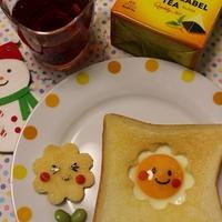 リプトンひらめき朝食♡お花のエッグトースト&ストレートティー