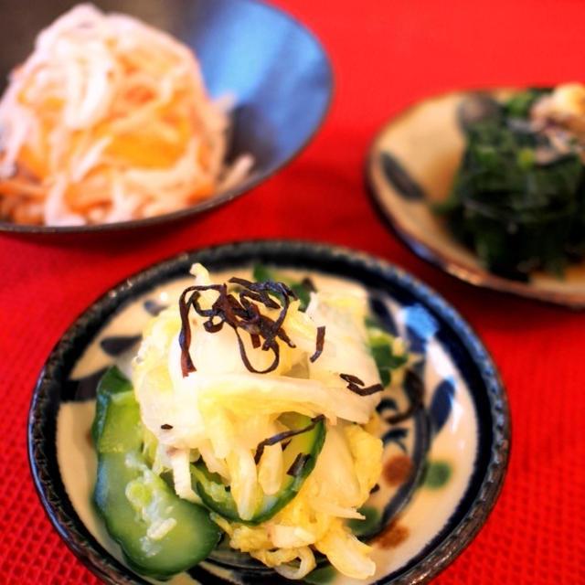 【おせち】ドイツで作る♡ほうれん草のお浸し、塩昆布の白菜ときゅうりの浅漬けレシピ