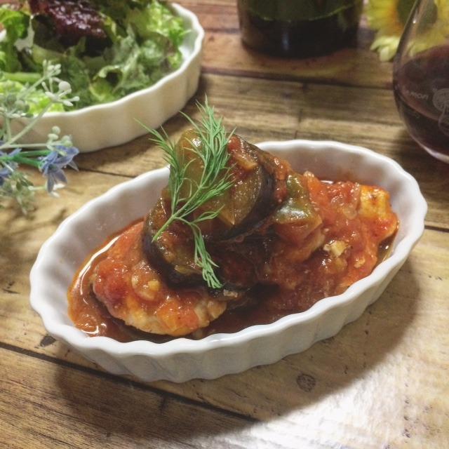 料理教室☆きまぐれランチ♪2017.6鶏胸肉のトマト煮込み