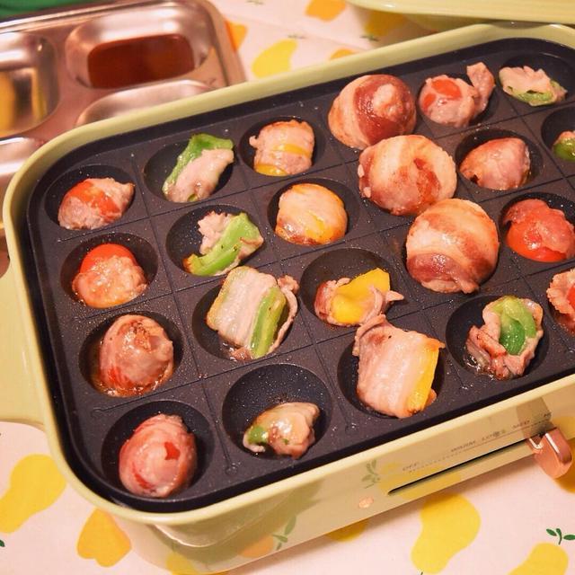 6.たこ焼き器で豚肉の野菜巻き