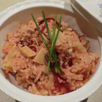 筍缶とビートルートで作るほっこり春色 炊きこみご飯