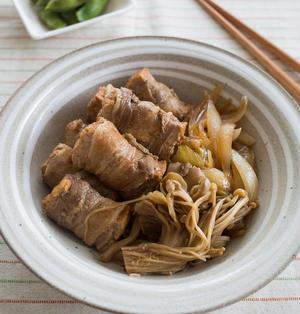 すき焼き風!厚揚げの肉巻きレシピ。