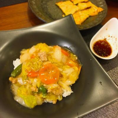 白菜と挽肉であったかあんかけご飯♡和栗のホイップ餡サンド