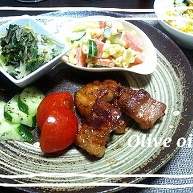 昨日の晩ご飯ワンプレート 豚バラの照り焼き