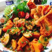 パリパリ鶏皮&南瓜とズッキーニのカレー