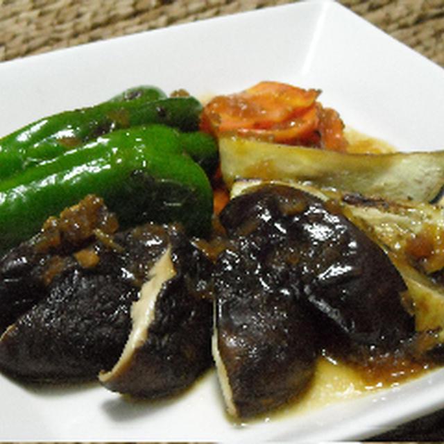 焼き野菜のサラダ、玉ねぎドレッシング添え。