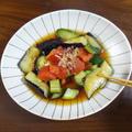 夏野菜3種で簡単!ひんやりレシピ 揚げ茄子とトマトきゅうりのおかか醤油和え