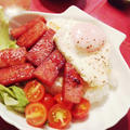 6月19日の晩ご飯【照り焼きスパム丼】 by まきのさん