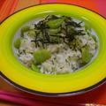 空豆と野沢菜ちりめんの混ぜご飯