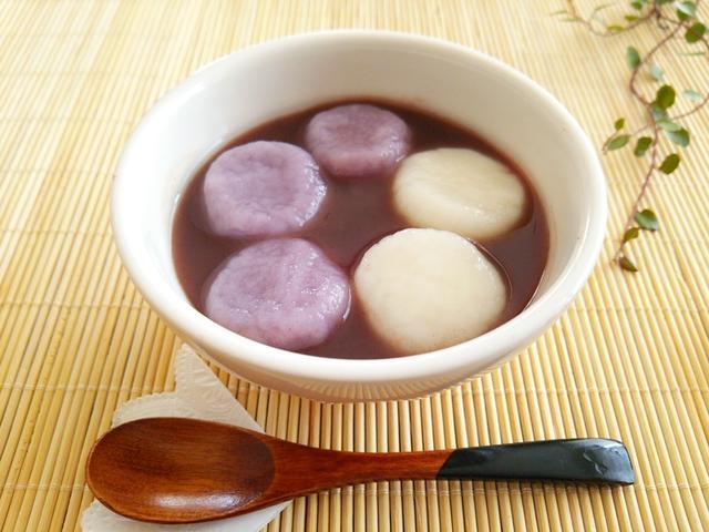 紫芋の白玉団子の冷やししるこ