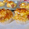 チーズとソーセージのお食事マフィン*卵なしでしっとり朝食やおやつに*