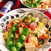 蒸し鶏のガーリックマヨサラダ