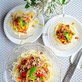 キラキラ! ひき肉と夏野菜のあんかけそうめん  #金魚の肴  #夏麺  #スタミナ