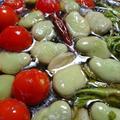 野郎飯流・そら豆とタラの芽とミニトマトのアヒージョ