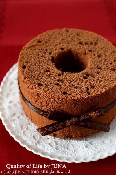 チョコとくるみのシフォンケーキ