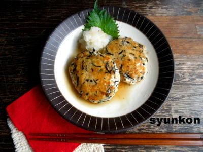 【簡単!!】水切り不要!豆腐とひじきのハンバーグと、パインのフルーツブランデー