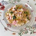 白菜漬とサラダチキンの納豆サラダ