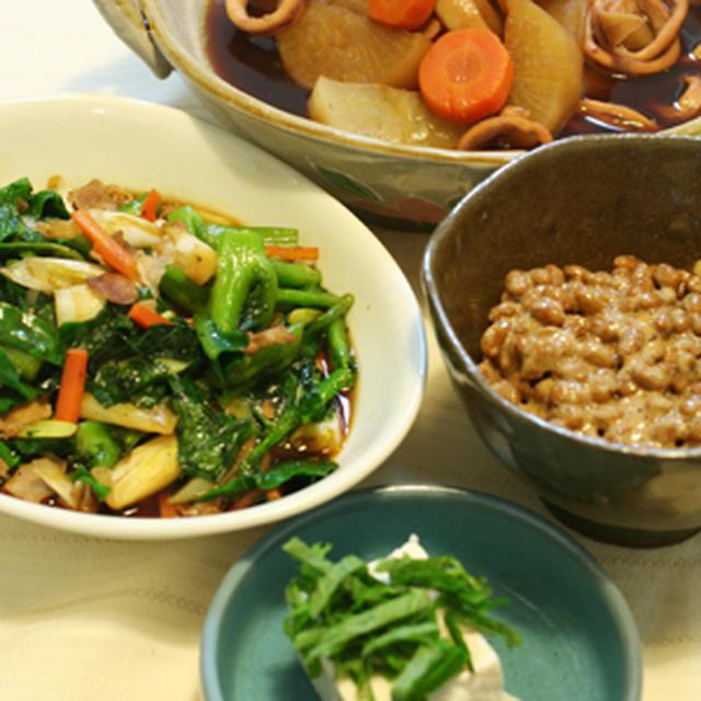 ゼロ活力なべでイカと大根の煮物と、うんまーい納豆&豆腐でうちごはん