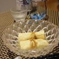 アスパラの信田煮、もやしとオクラ木耳の辛子和え、アスパラのガドガド風和え、鯖の柚子塩麹焼き