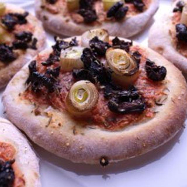ドライトマトと長ネギのピザ【低脂肪・ノンオイル】