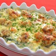 <魚焼きグリルで牡蠣とほうれん草のグラタン>