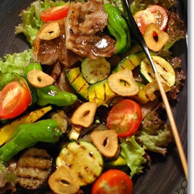豚肉とグリル夏野菜のサラダ
