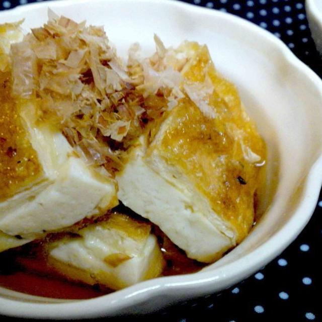 【レシピ】豆腐とわさびペッパーチーズのきつね焼き(^^♪