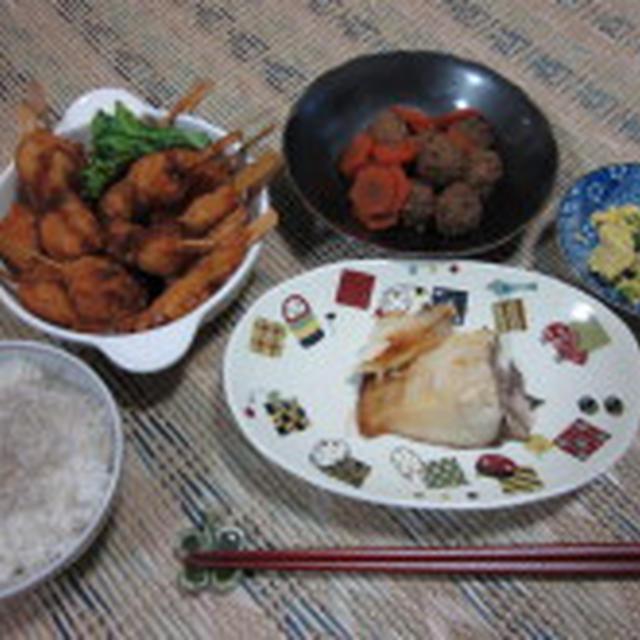 鶏のつくねの煮物、ぽってりとした鯛の味噌漬け、串揚げで晩御飯★