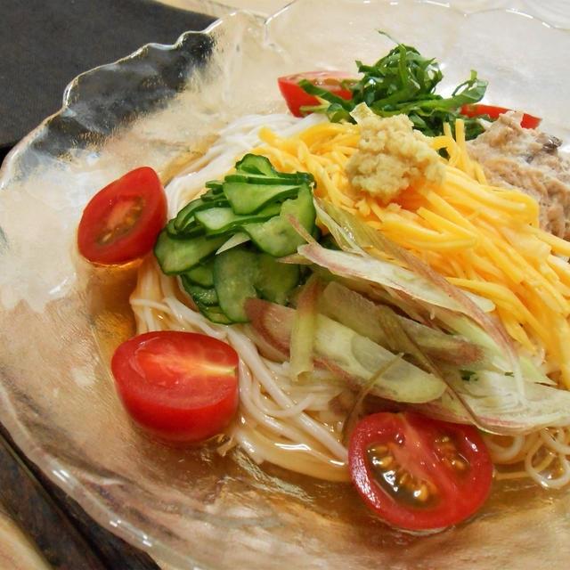 簡単!!夏野菜のツナマヨソーメンの作り方/レシピ