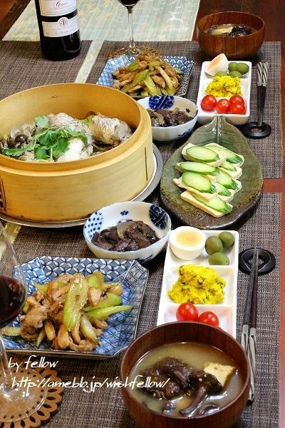 ◆赤ムツ(のど黒)の蒸篭蒸しにイクチの生姜煮でおうちごは♪~ゆるやか糖質制限中♪