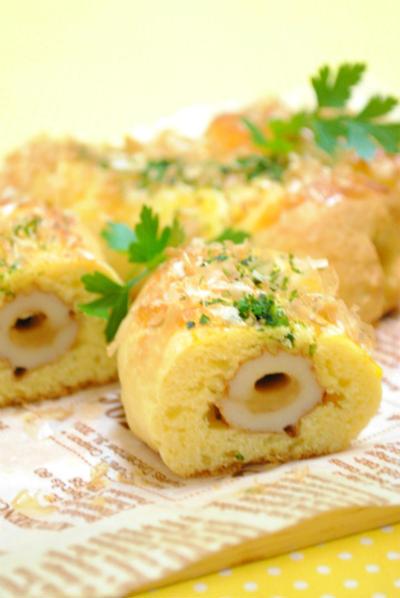 ホットケーキミックスで おかかチーズちくわパン ☆