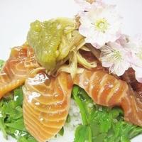 とっても美味しいサーモンのメカブヅケ丼~v(^0^)/