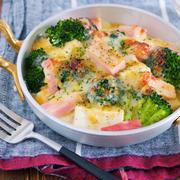 乗せて焼くだけ♪コクうま濃厚〜♪『豆腐とブロッコリーの味噌マヨチーズグラタン』