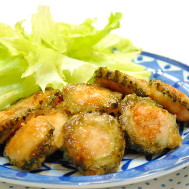 鶏ひき肉とエビのゴーヤ詰め 照り焼き味 ☆