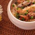 白菜と秋刀魚の梅和えガーリックオイル仕立て