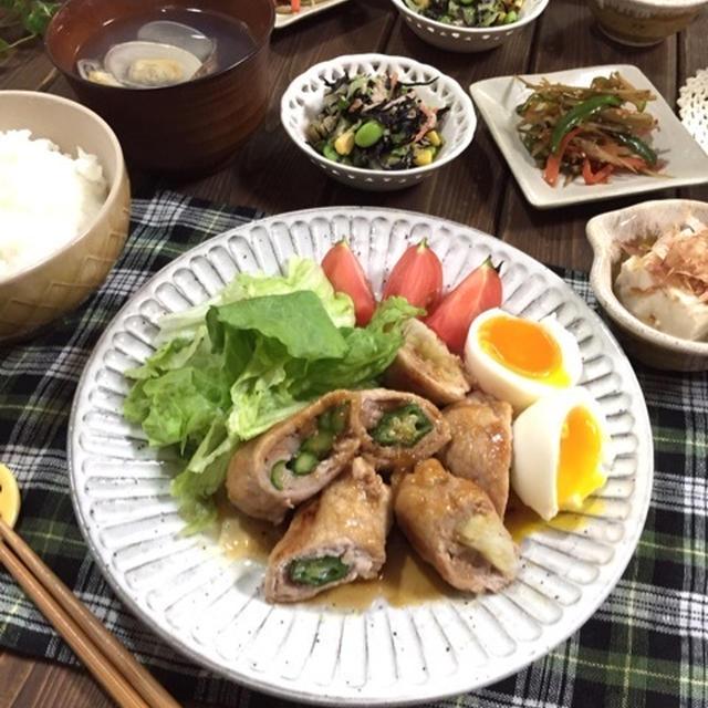 超オススメなメイン&副菜!ポーク野菜のコッテリ照り焼き♪ひじきとキャベツの味噌マヨサラダ♪