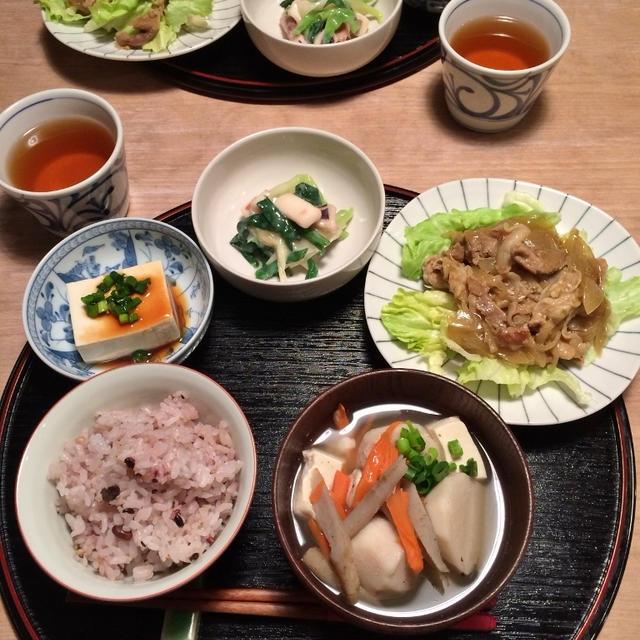 豚こまの和風カレー味で夕ごはん