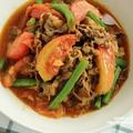【レシピ】牛こま肉とトマトのカレー炒め