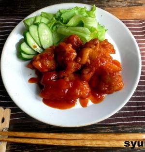 【簡単!!カフェごはん】旨!鶏のピリ辛ケチャップ