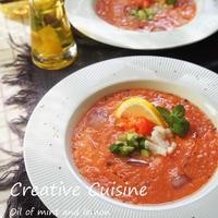 ミントとレモンの米油で作る♡夏野菜Loveガスパチョ
